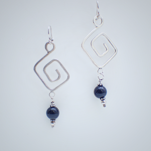 Onyx Greek Key Earrings