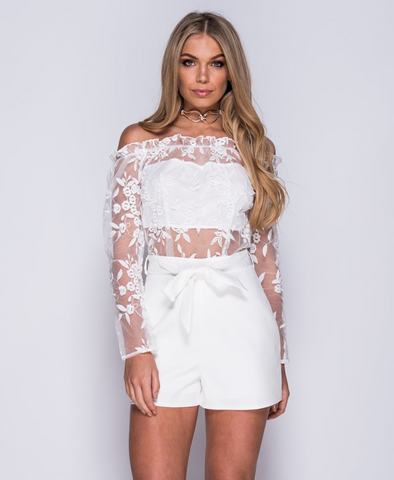 White Bardot Full Sleeve Playsuit