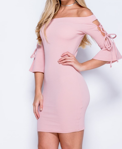 Pink Lace Up Bardot Dress