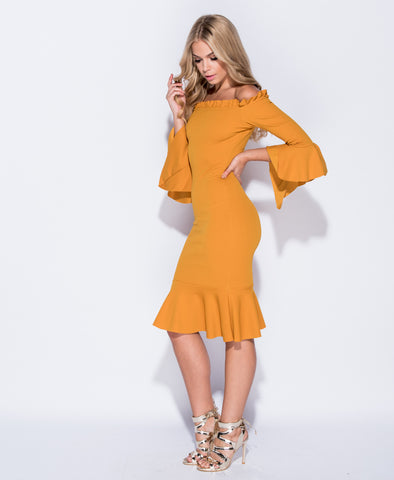 Sophia Bardot Flute Sleeve Bodycon Dress