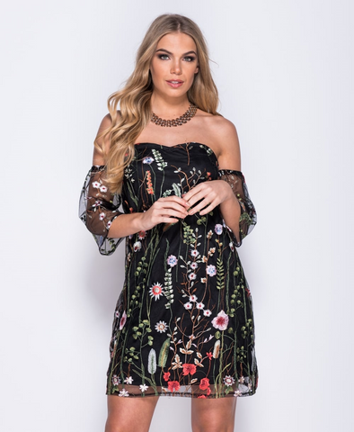 Embroidered Mesh Bardot Dress