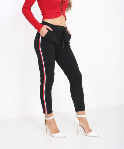 Rhia Black Trousers with Red and White Side Stripe