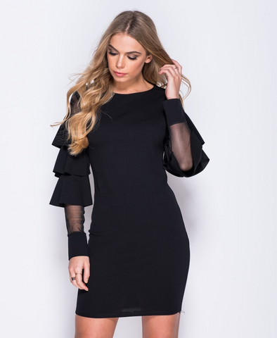 Ruffle Sleeve Bodycon Dress