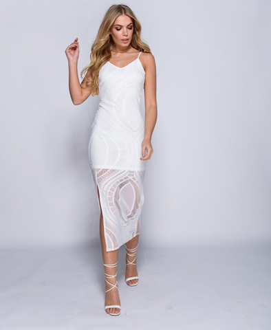 Strappy Side Slit Lace Bodycon Maxi Dress