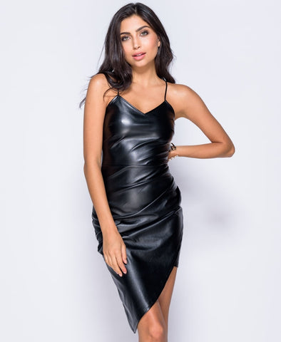 Imogen Black PU Wrap Front Asymmetric Mini Dress