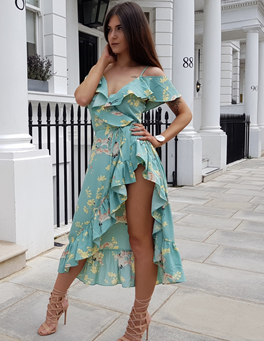 Jade Floral Crossover Wrap Dress
