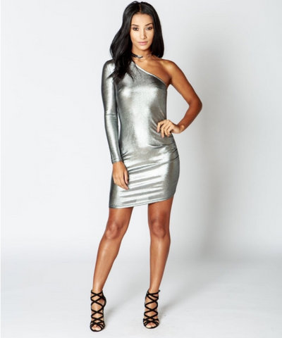 Rita Silver One Shoulder Side Ruched Metallic Dress
