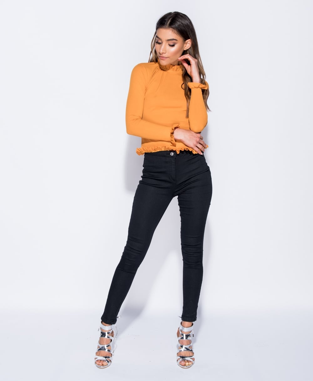 Carly Skinny Rib Frill Trim Top
