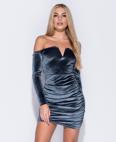 Chloe Velvet Wrap Front Bardot Bodycon Dress
