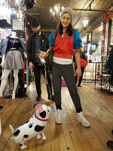 Some of our fashionable customers with their... dog?!