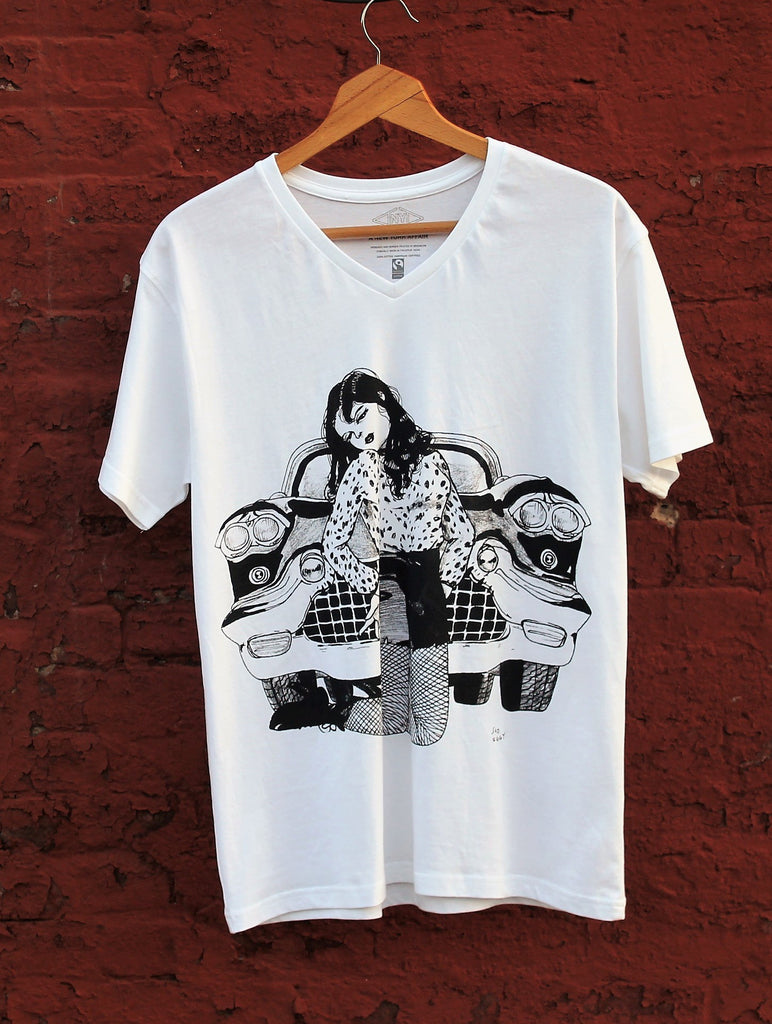 graphic Faitrade, organic cotton t-shirt celebrating the bowery, punk, rockabilly in NYC