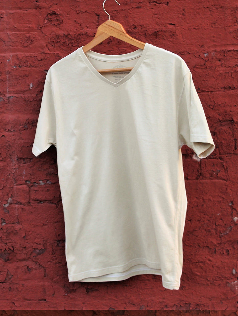 Sand / V-Neck / super soft / combed / cotton