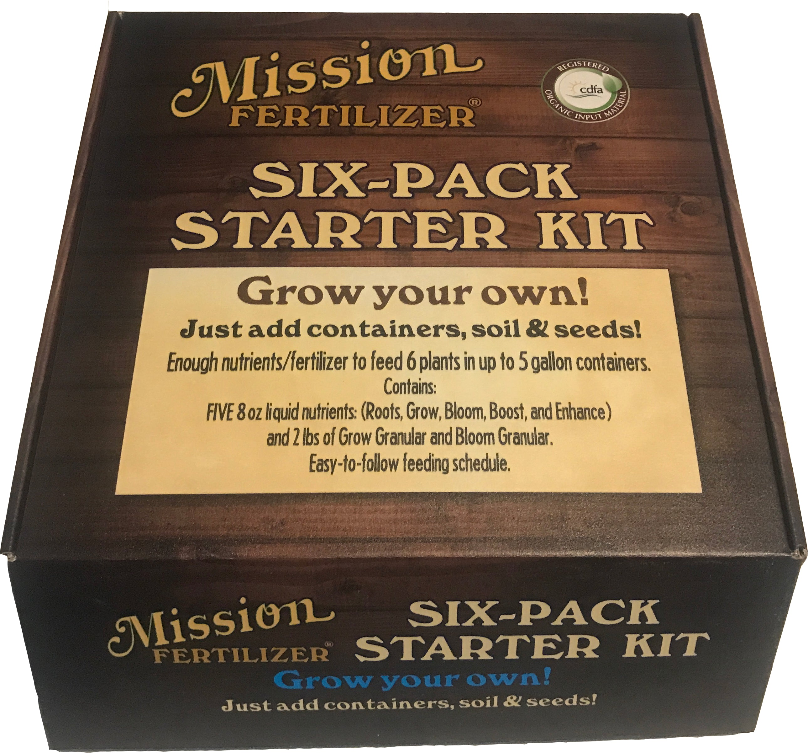 Mission Fertilizer Six Plant Starter Kit - Enough Organic nutrients to grow 6 medicinal plants in up to 5 gallon containers from start to finish.