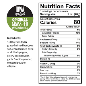 Original - Iowa Smoked Recipe, 100% Grass-Fed Beef Sticks, 12 - Count