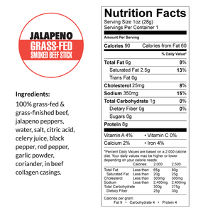 Variety - Original, Jalapeno, Smokey Sweet, 100% Grass-Fed Beef Sticks (12 - 144 Counts)
