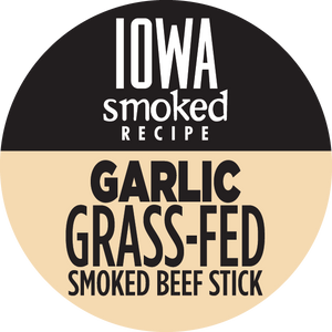 Garlic - Iowa Smoked Recipe, 100% Grass-Fed Beef Sticks, 12 - Count