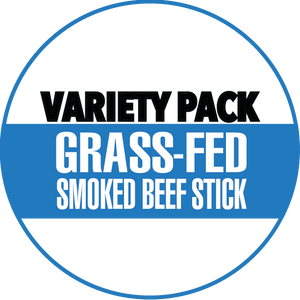 Variety, 100% Grass-Fed Beef Sticks, Original, Jalapeno, Smokey Sweet (12 - 144 Counts)