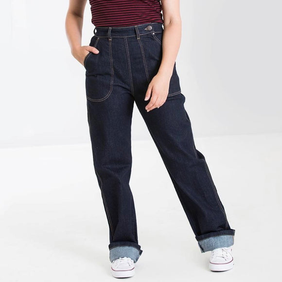 Hell Bunny Weston Denim Trousers
