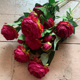 Faux Ranunculus Spray Wine