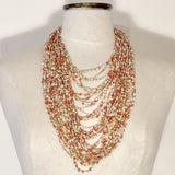 Kenyan Necklace Multi Strand Peach & White