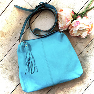 Owen Barry Crossbody Bag Turquoise Suede Sample