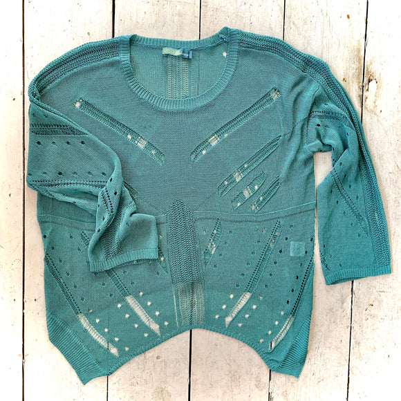 Bohemia Intricate Weave Sea Green Jumper