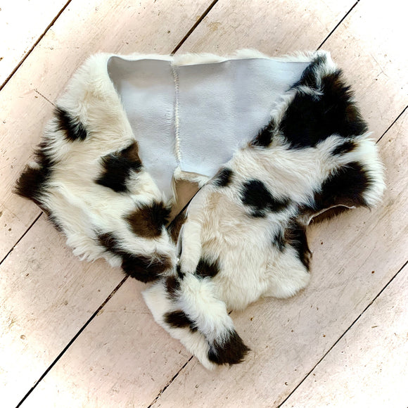 Owen Barry Sheepskin Stole/Wrap White & Brown Splash