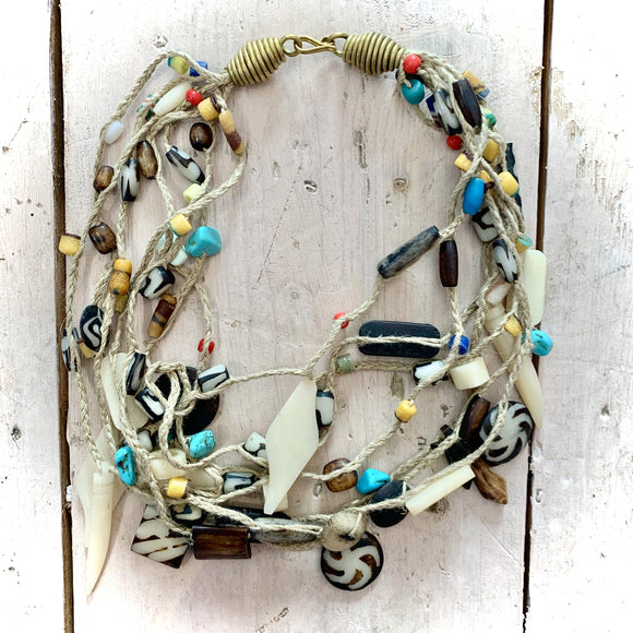 Kenyan Necklace Cord, Bone and Coloured Beads