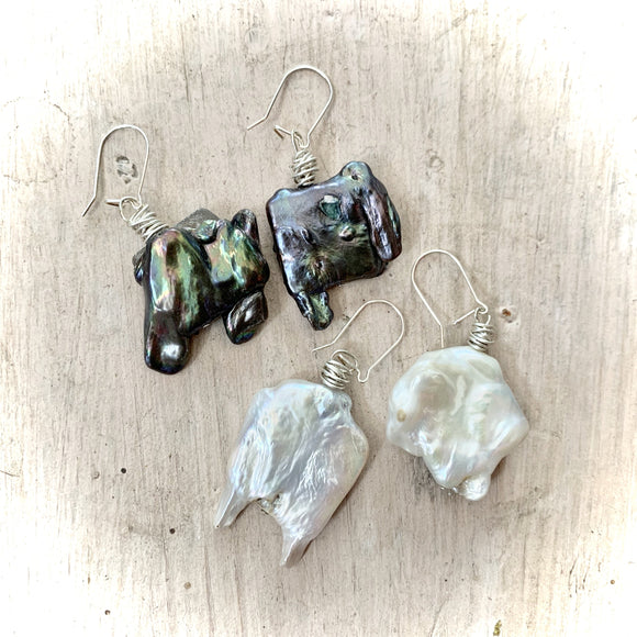 Wire Wrapped Handmade Pearl Earrings