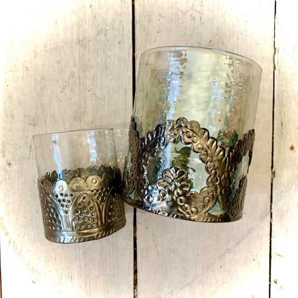 Baroque Glass and Metal Votives