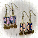 Kenyan Bundu Earrings Double Beads & Metal Swirls