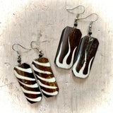 Kenyan Earrings Brown & White Oblong