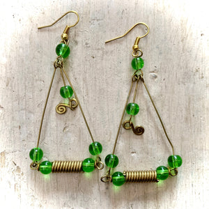 Kenyan Earrings Long Drop Triangular - Green Beads