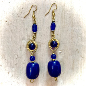 Kenyan Earrings Metalwork & Large Blue Beads