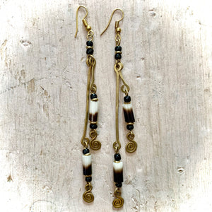 Kenyan Earrings Long Drop Black, White & Brown