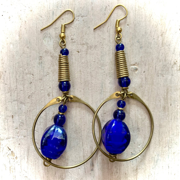 Kenyan Earrings Round Metalwork & Large Blue Beads