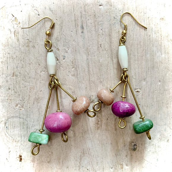 Kenyan Earrings Long Drop Pink, Green & White