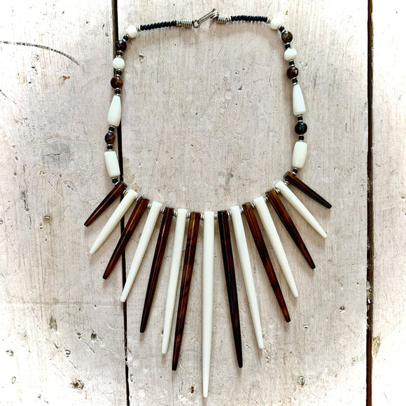 Kenyan Polished Bone Necklace Brown & White