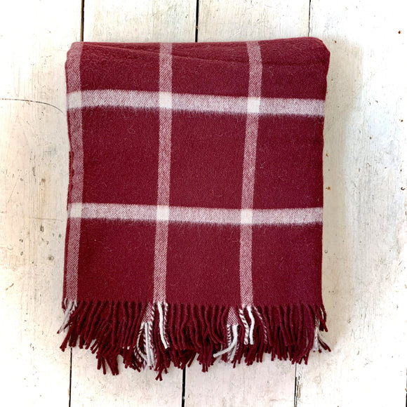 Moons of Yorkshire Pure Wool Blanket Slight Second Burgundy