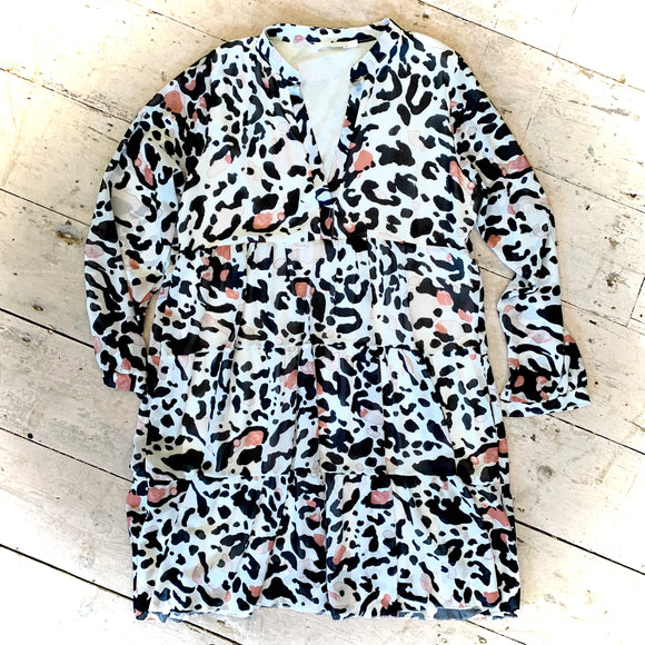 Animal Print Tiered Tunic Dress
