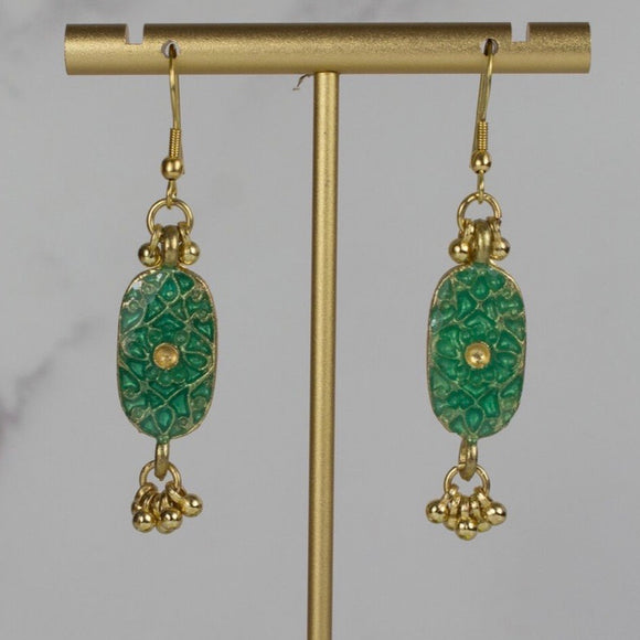 My Doris Handcrafted Turquoise Enamel Drop Earrings