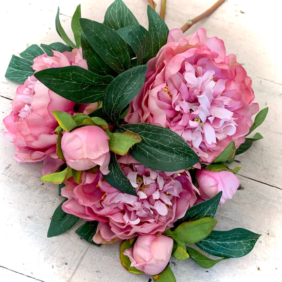 Faux Peony Double Head Stem Pink