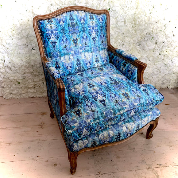 Driftwood Collection Antique Reupholstered Armchair