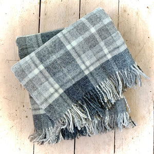Moons of Yorkshire Pure Wool Blanket Slight Second Grey & White