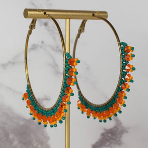 My Doris Beaded Large Hoop Earrings