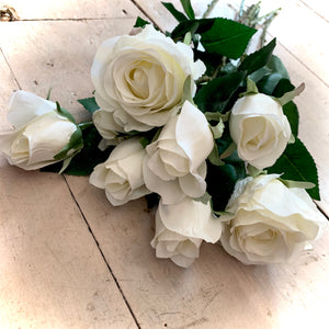 Faux White Rose Stem