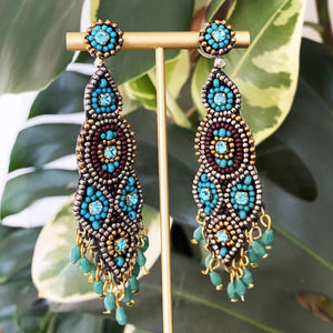 My Doris Long Beaded Drop Earrings