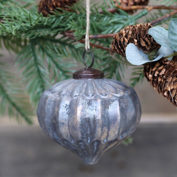 Grey & Gold Glass Christmas Baubles