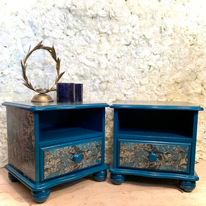 Upcycled Pair of Solid Pine Bedside Tables