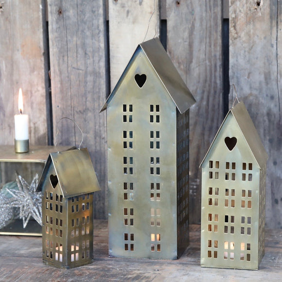 Gold Metal House T-Light Hangings